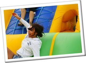 Climbing an inflatable obstacle