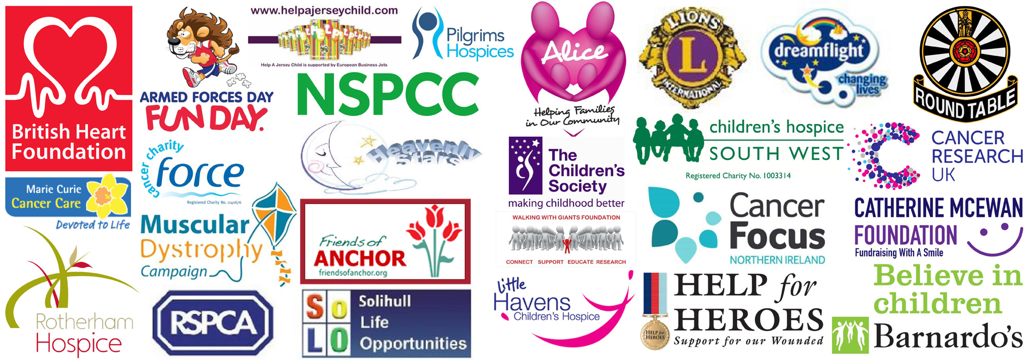 A montage of the charities we have worked for