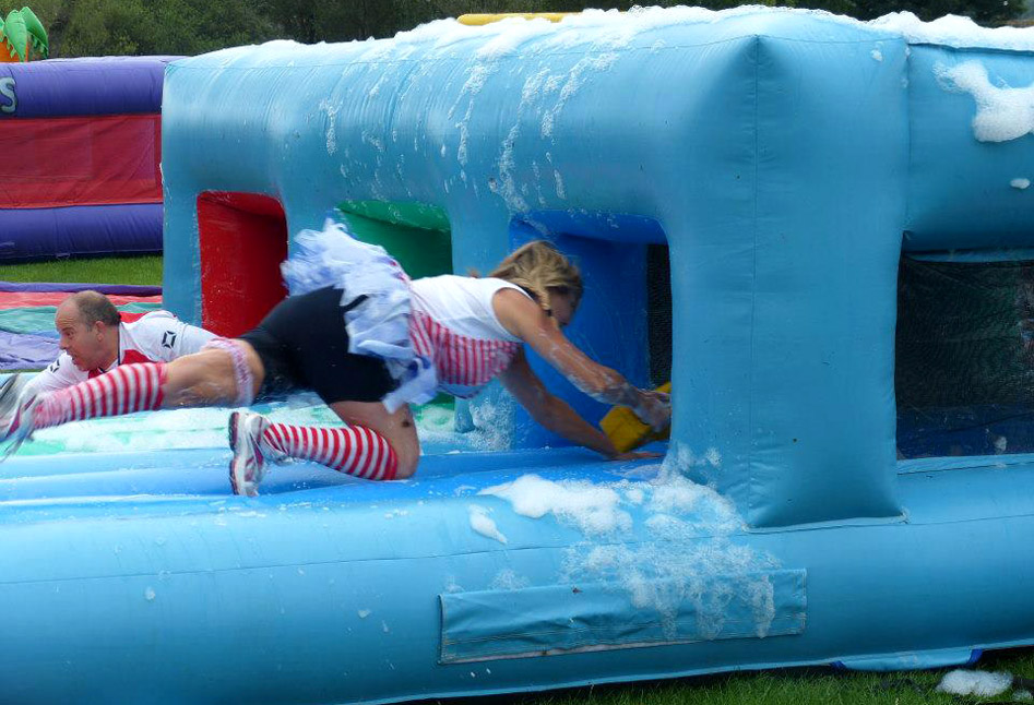 Sliding through the bubbles at a charity event