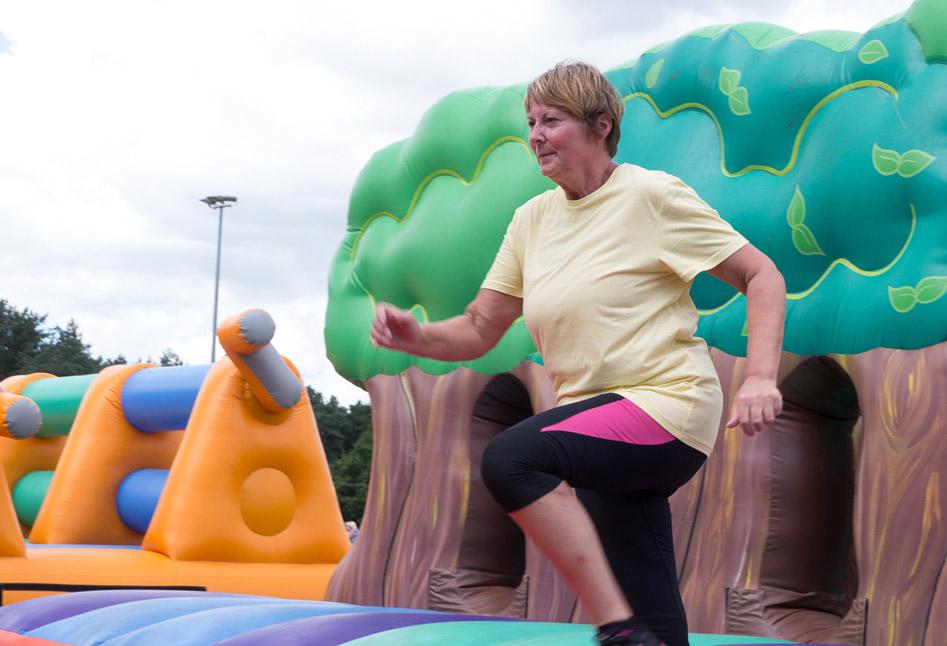 Running through an inflatable