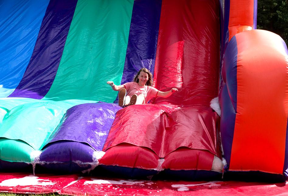 Sliding down the inflatable slide
