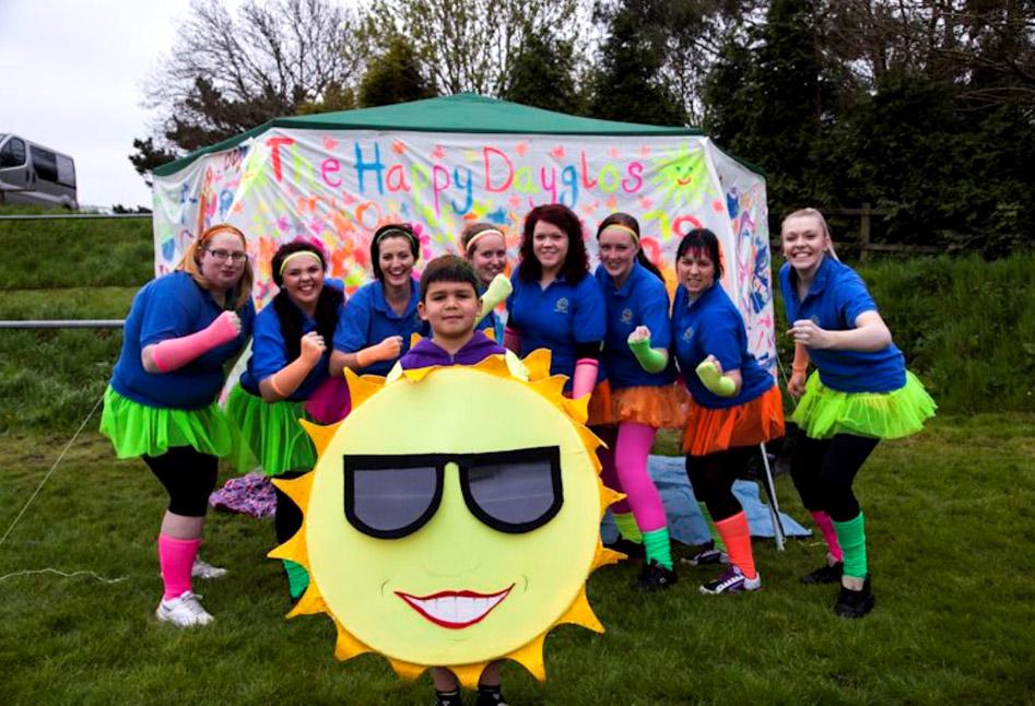 A charity fund raising team
