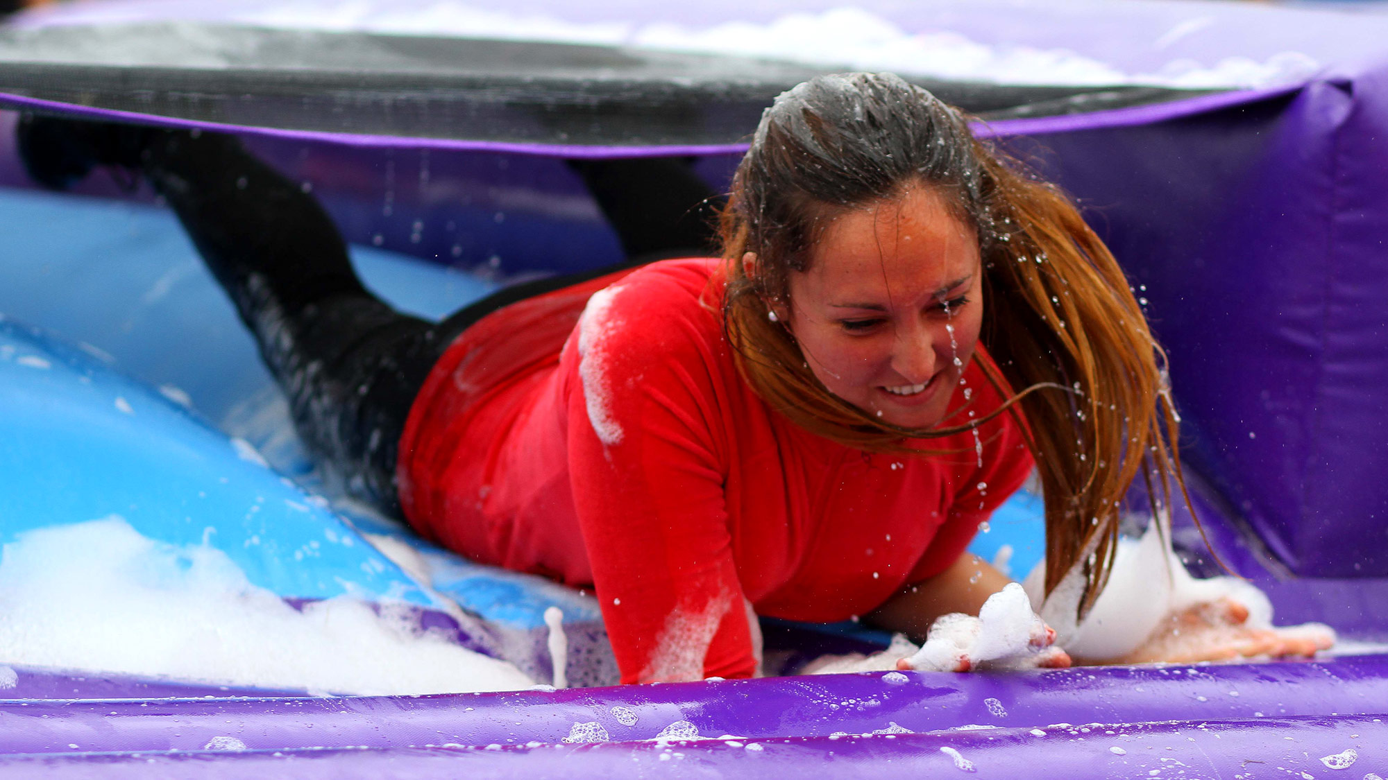 Crawling through the bubbles on It's A Knockout