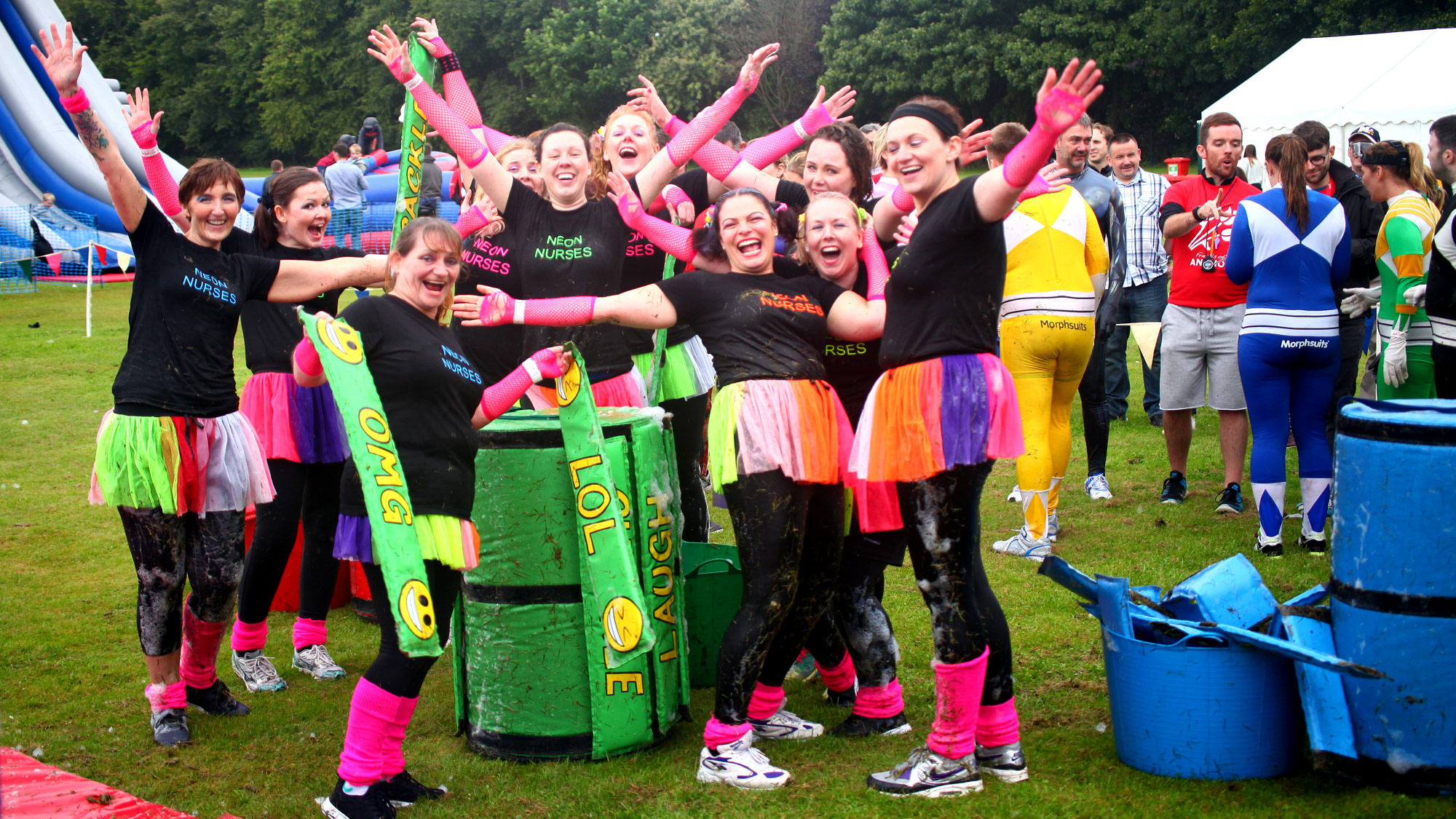 Charity It's A Knockout team having fun