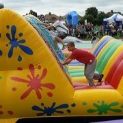 climbing an inflatable for it's a knockout