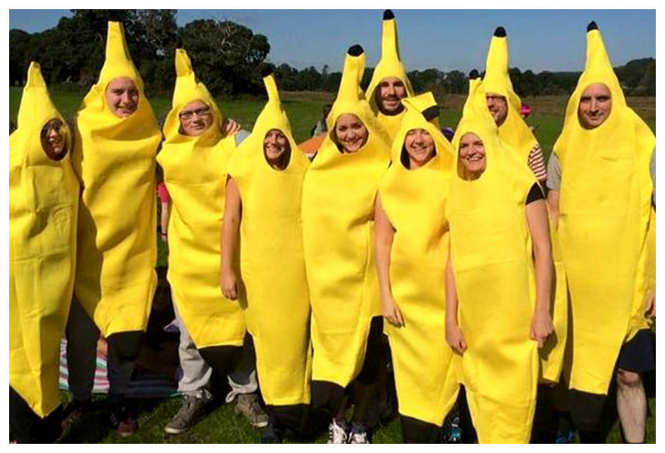A team fancy dressed as banana's