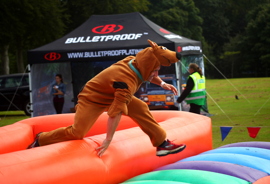 Running across an inflatable at a charity event