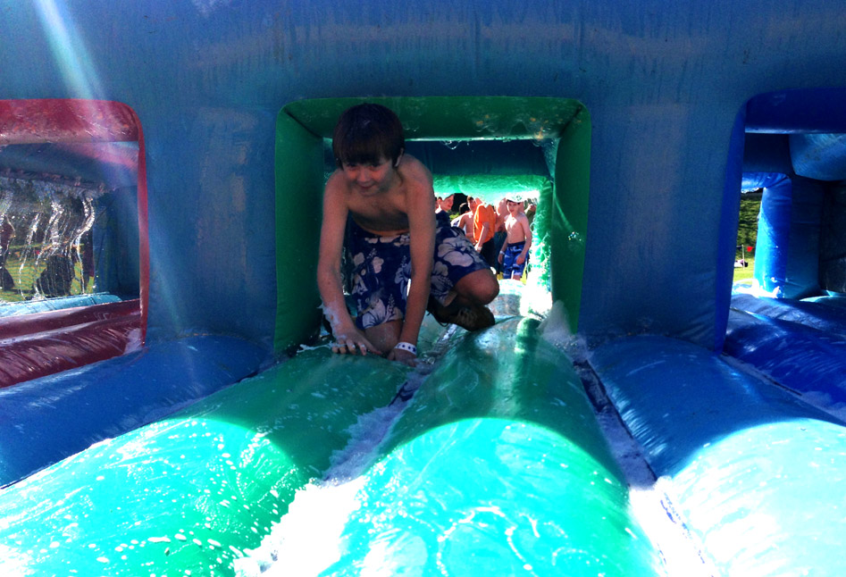 Sliding through the bubbles on an inflatable