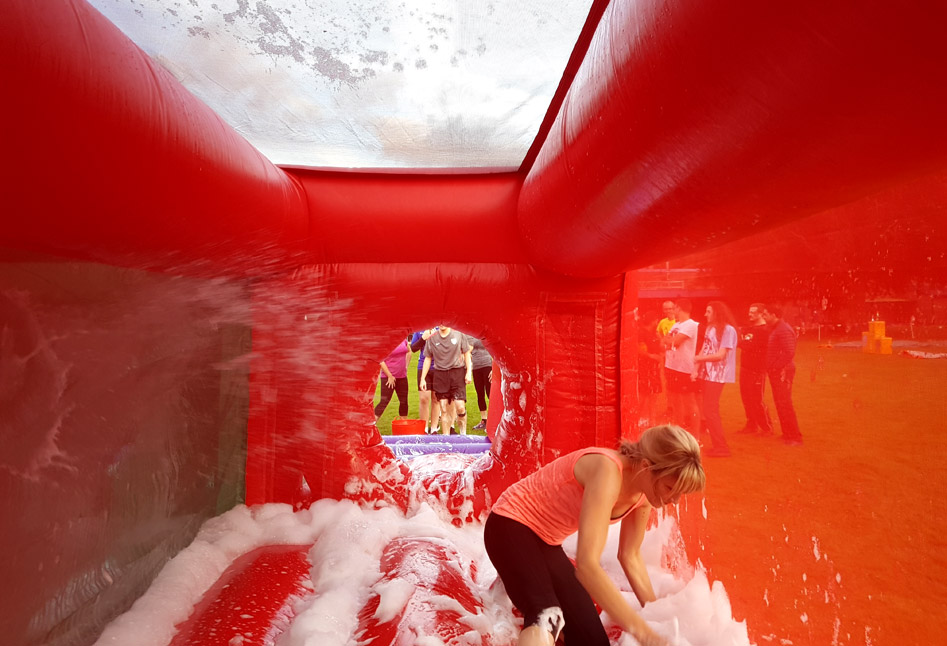 In the bubbles on the inflatable Bubble Cave on our Bronze Show