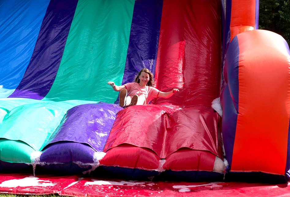 Sliding down the inflatable slide
