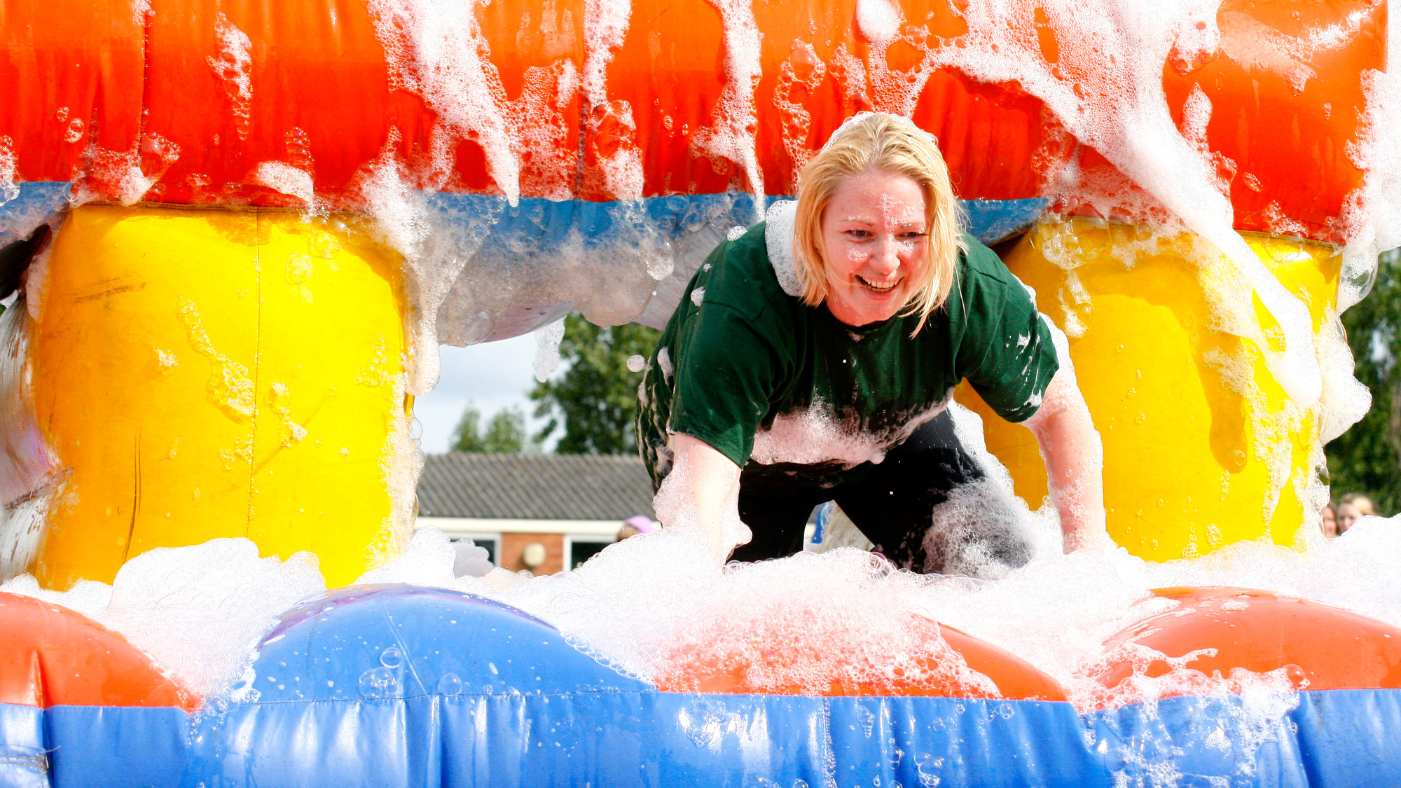 Having fun in the bubbles on It's A Knockout