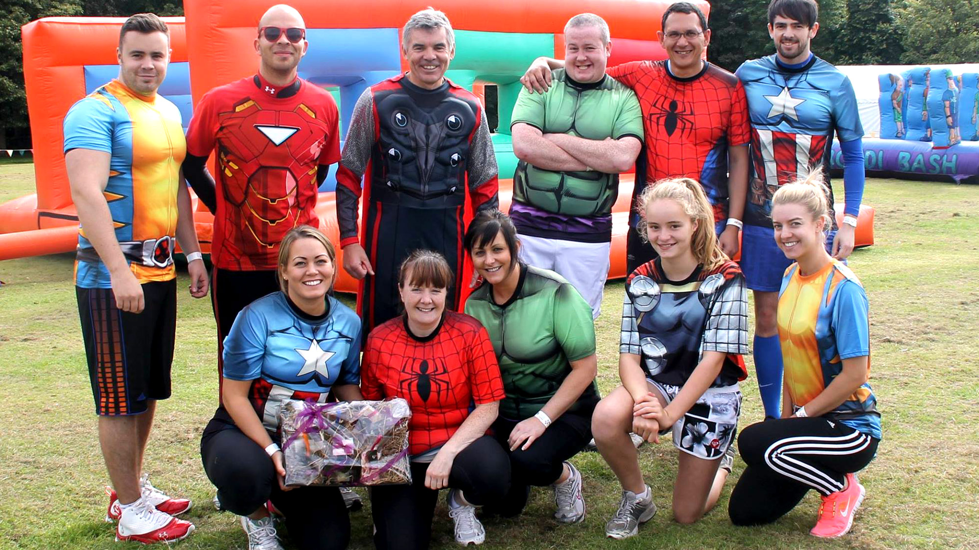 A Superheroes fancy dressed It's A Knockout team
