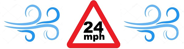 24 mph wind speed limit on all inflatables